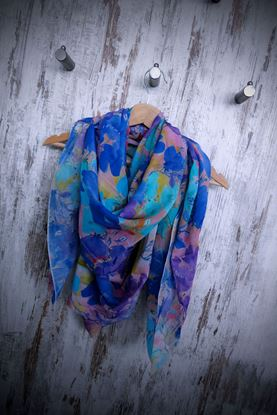 Picture of Fluo Silk Cotton Flowers Scarf