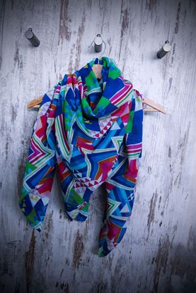 Picture of Geometric silk cotton scarf