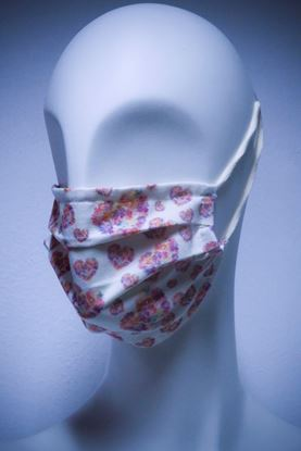 Picture of Mask in organic cotton and bamboo Heart Flowers print