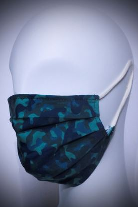 Picture of Mask in organic cotton and bamboo Military Blu