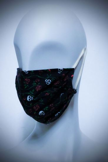 Picture of Mask in organic cotton and bamboo Skull and Roses